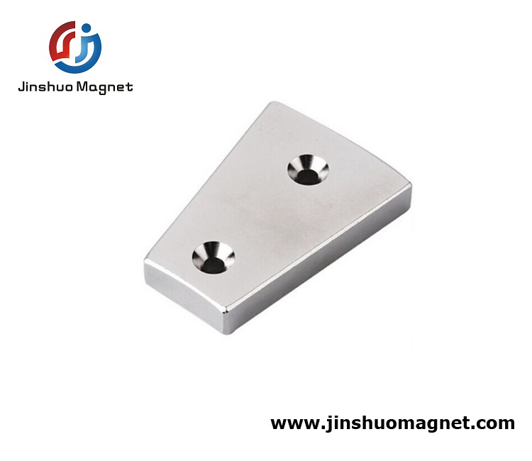 Rare Earth Segment Magnet With Countersunk Holes